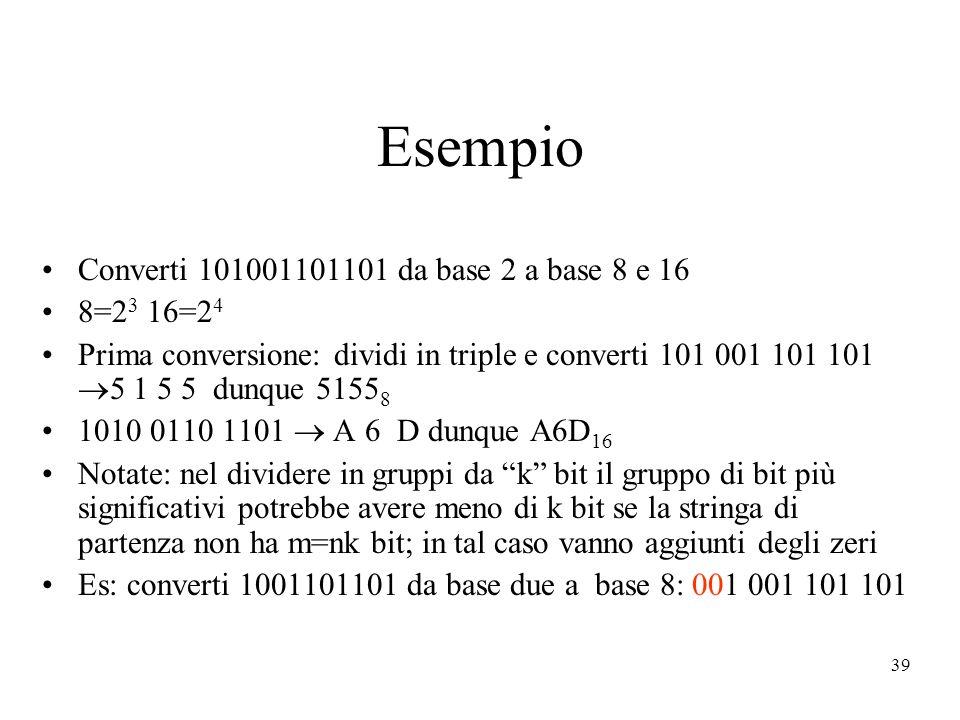 Esempio Converti 101001101101 da base 2 a base 8 e 16 8=23 16=24