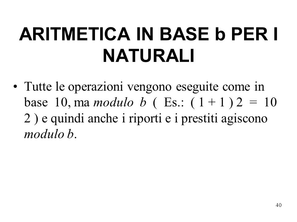 ARITMETICA IN BASE b PER I NATURALI