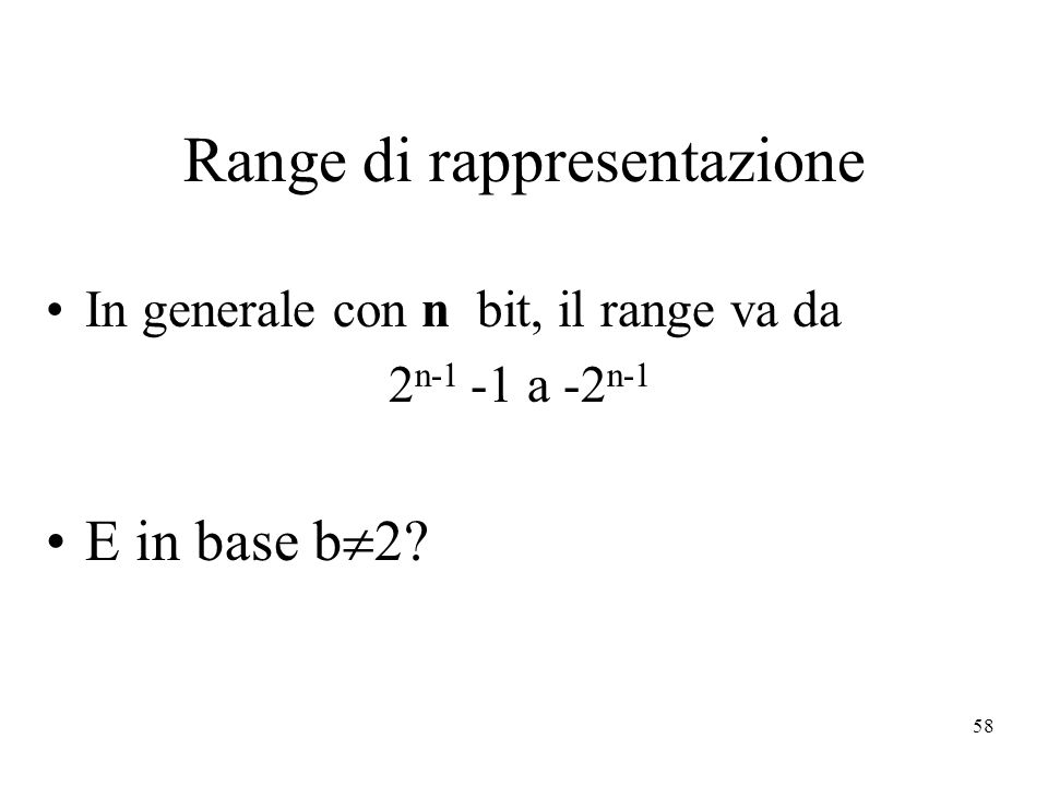Range di rappresentazione