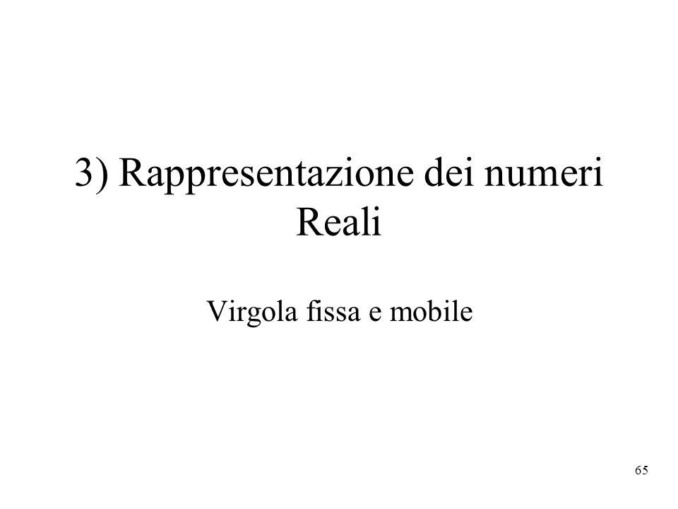 3) Rappresentazione dei numeri Reali