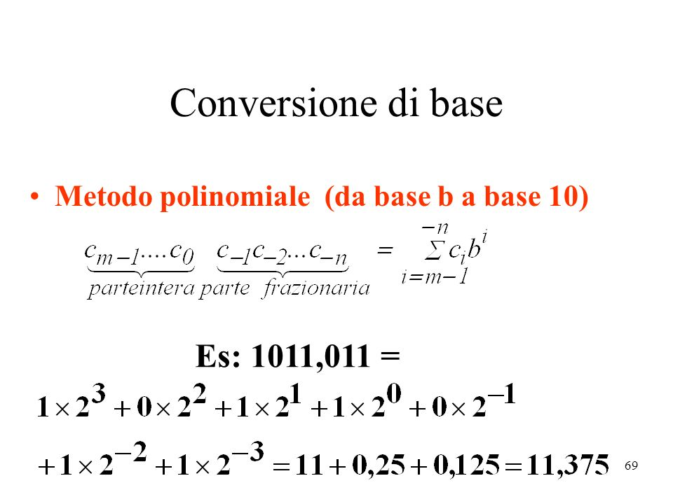 Conversione di base Es: 1011,011 =