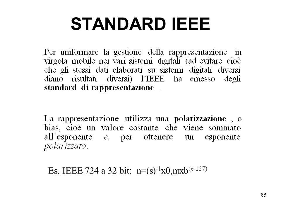 STANDARD IEEE Es. IEEE 724 a 32 bit: n=(s)-1x0,mxb(e-127)
