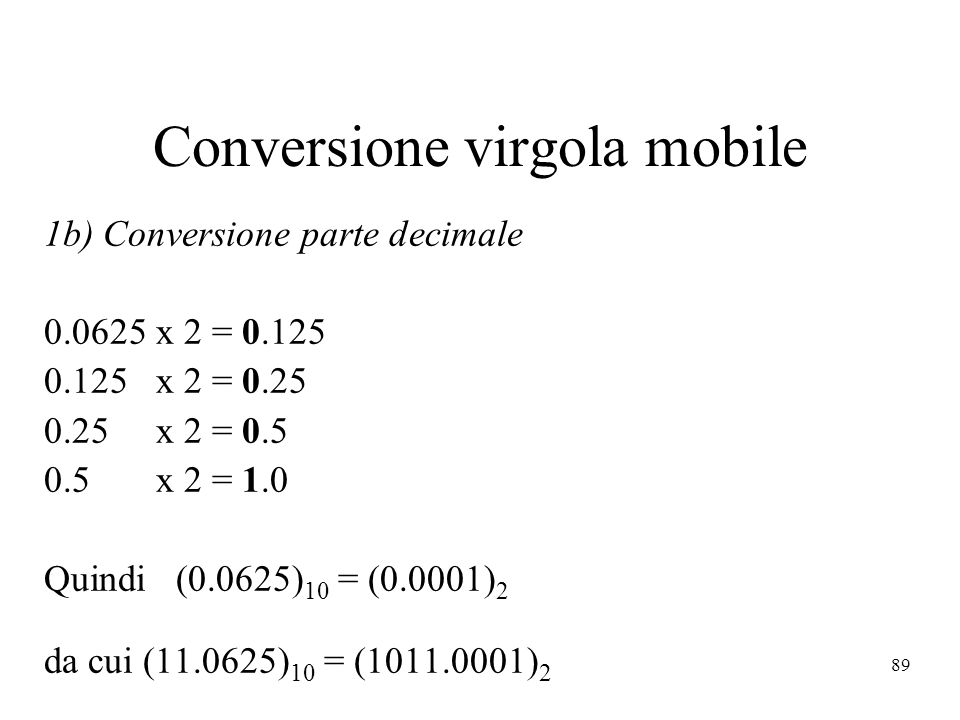 Conversione virgola mobile