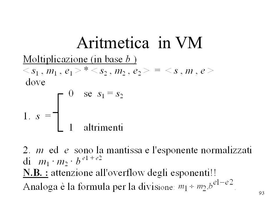 Aritmetica in VM
