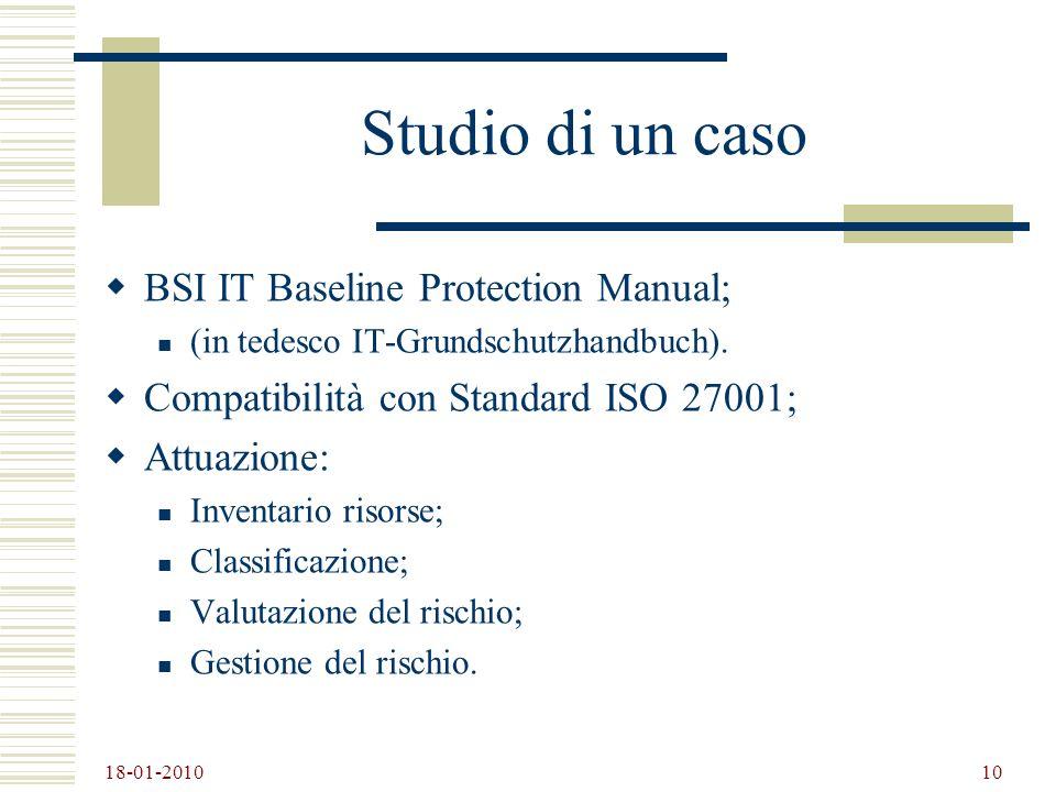 Studio di un caso BSI IT Baseline Protection Manual;