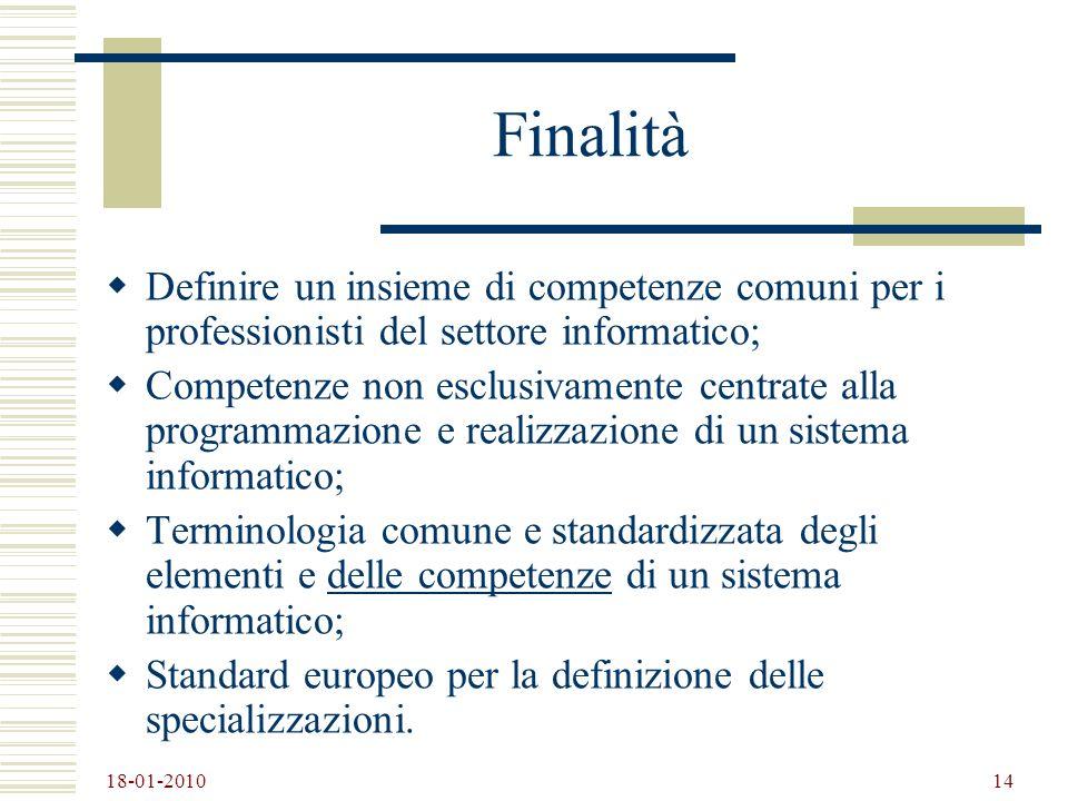 Finalità Definire un insieme di competenze comuni per i professionisti del settore informatico;