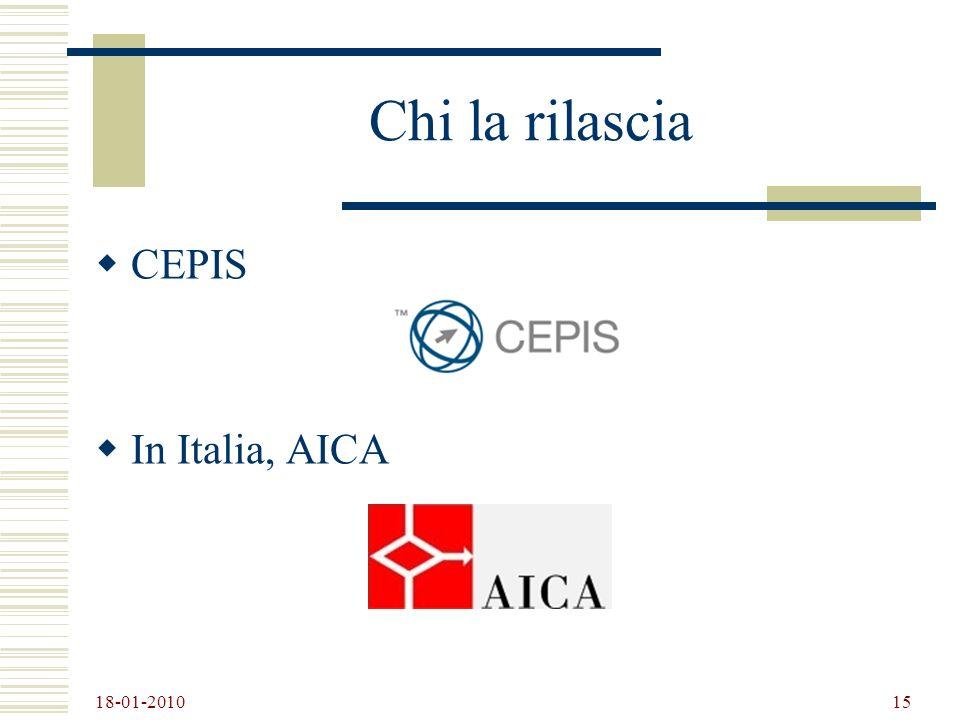 Chi la rilascia CEPIS In Italia, AICA 18-01-2010