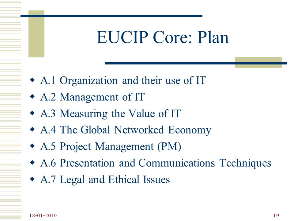 EUCIP Core: Plan A.1 Organization and their use of IT
