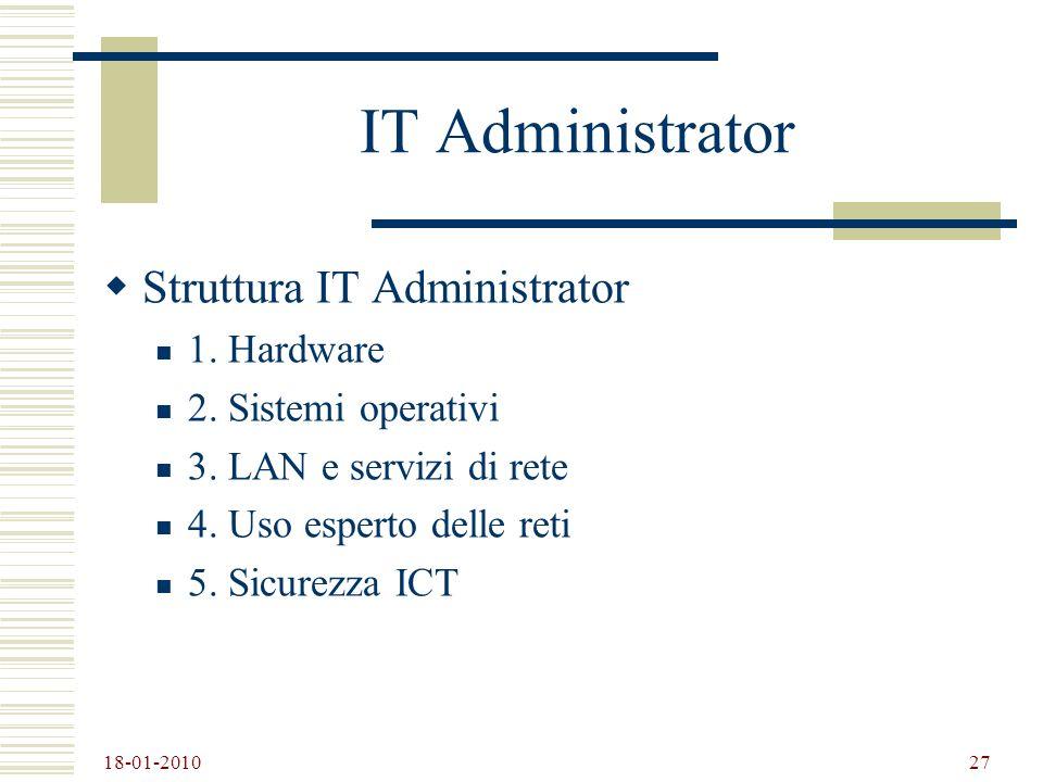 IT Administrator Struttura IT Administrator 1. Hardware