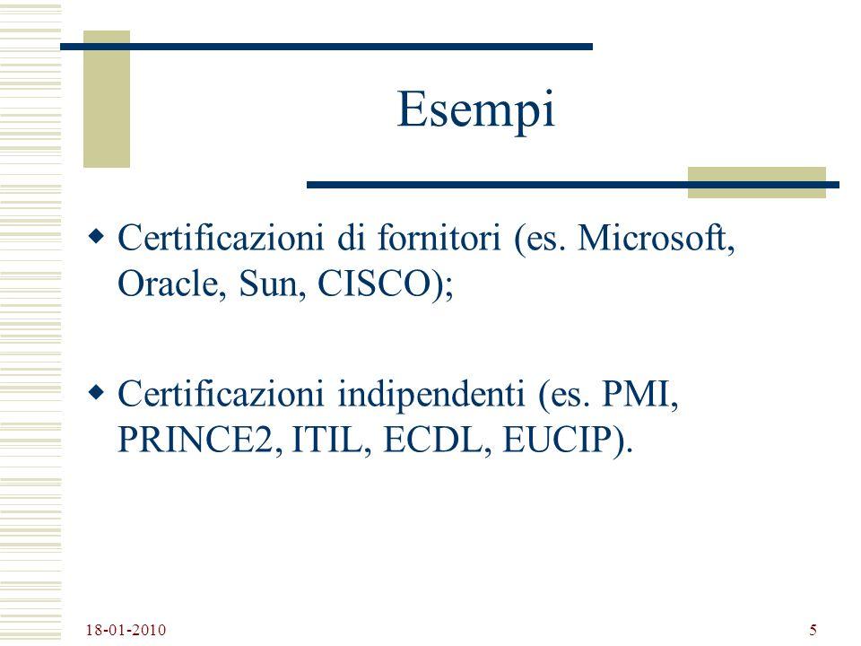 Esempi Certificazioni di fornitori (es. Microsoft, Oracle, Sun, CISCO); Certificazioni indipendenti (es. PMI, PRINCE2, ITIL, ECDL, EUCIP).