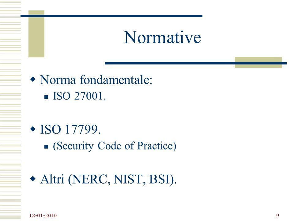 Normative Norma fondamentale: ISO 17799. Altri (NERC, NIST, BSI).