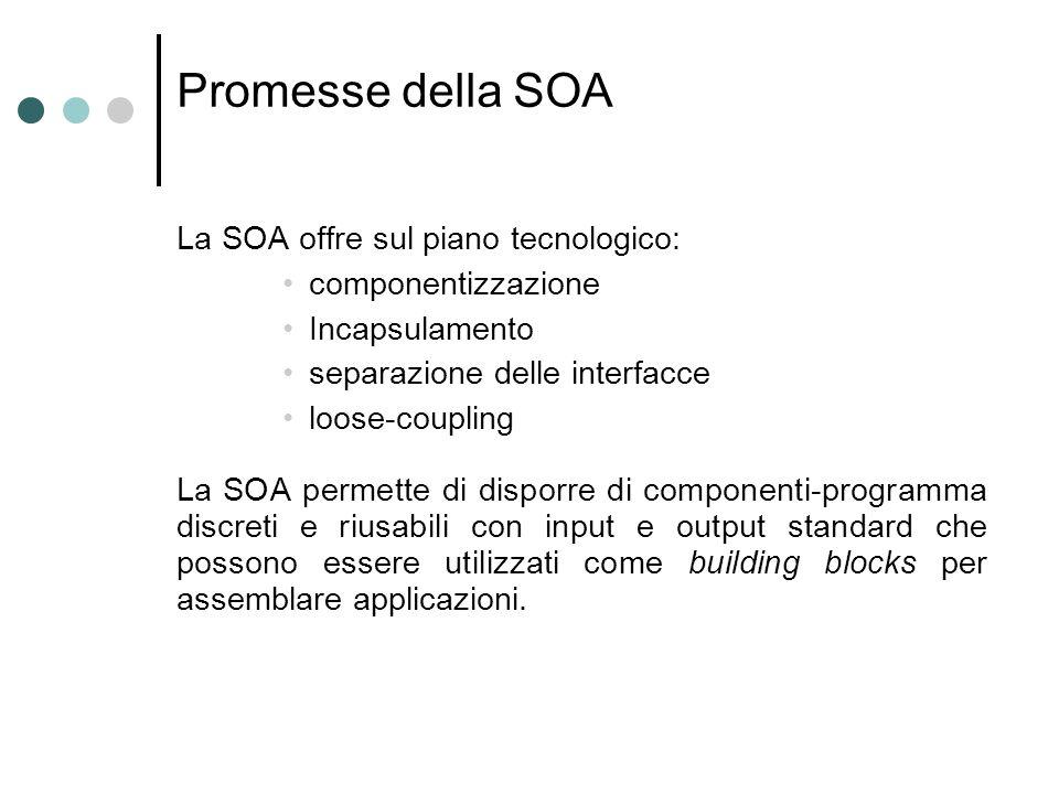 Promesse della SOA La SOA offre sul piano tecnologico: