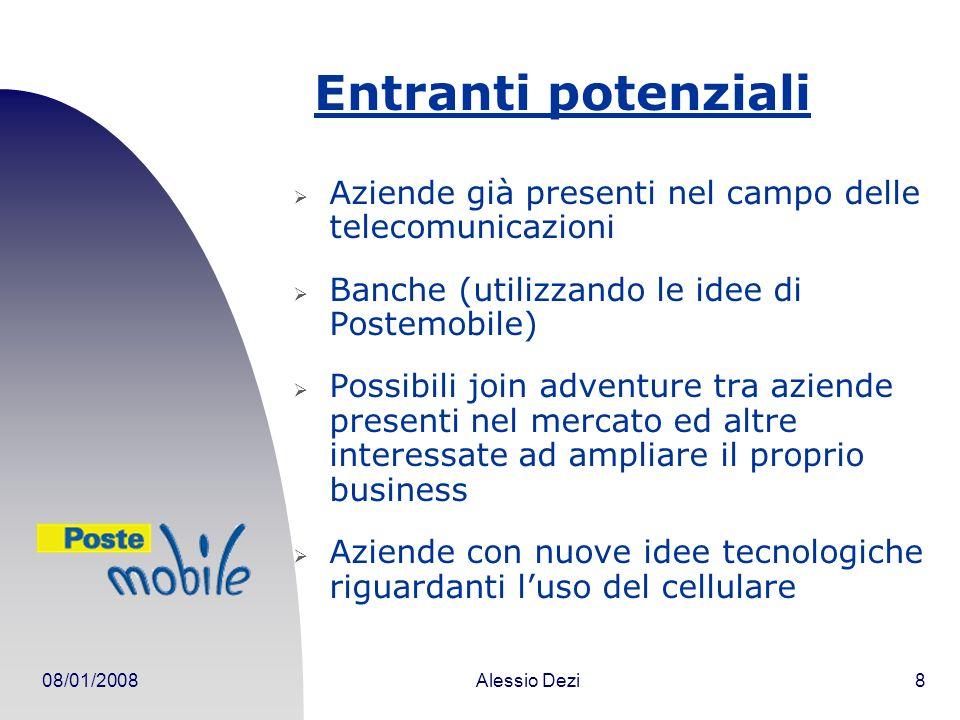 Entranti potenziali Aziende già presenti nel campo delle telecomunicazioni. Banche (utilizzando le idee di Postemobile)