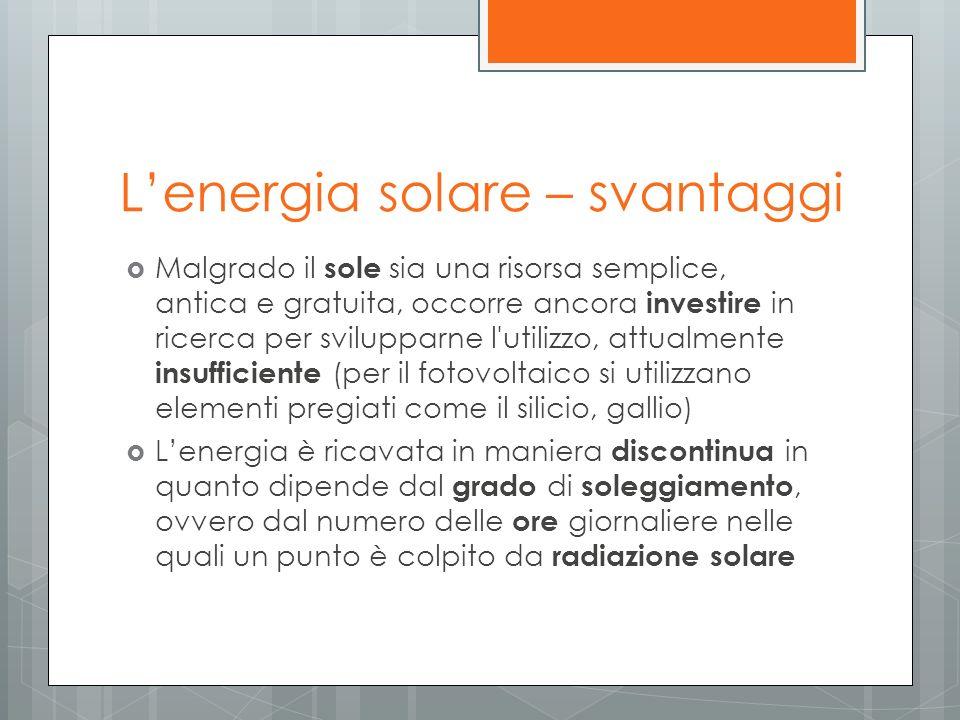 L'energia solare – svantaggi