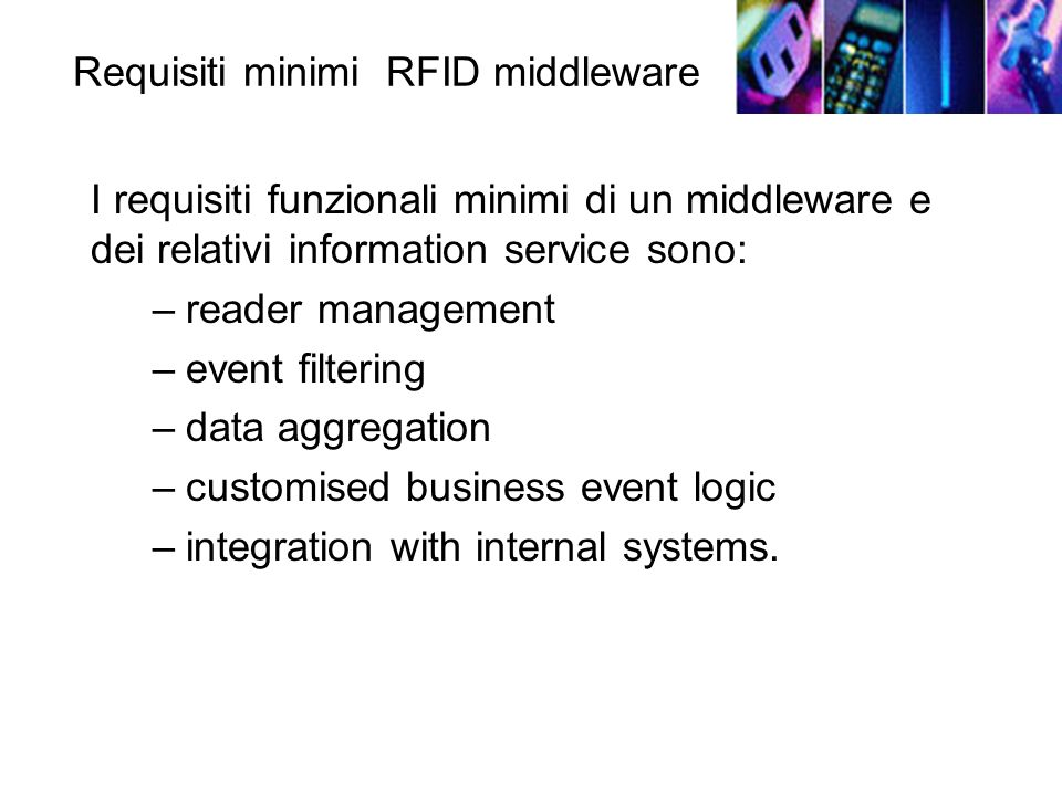 Requisiti minimi RFID middleware