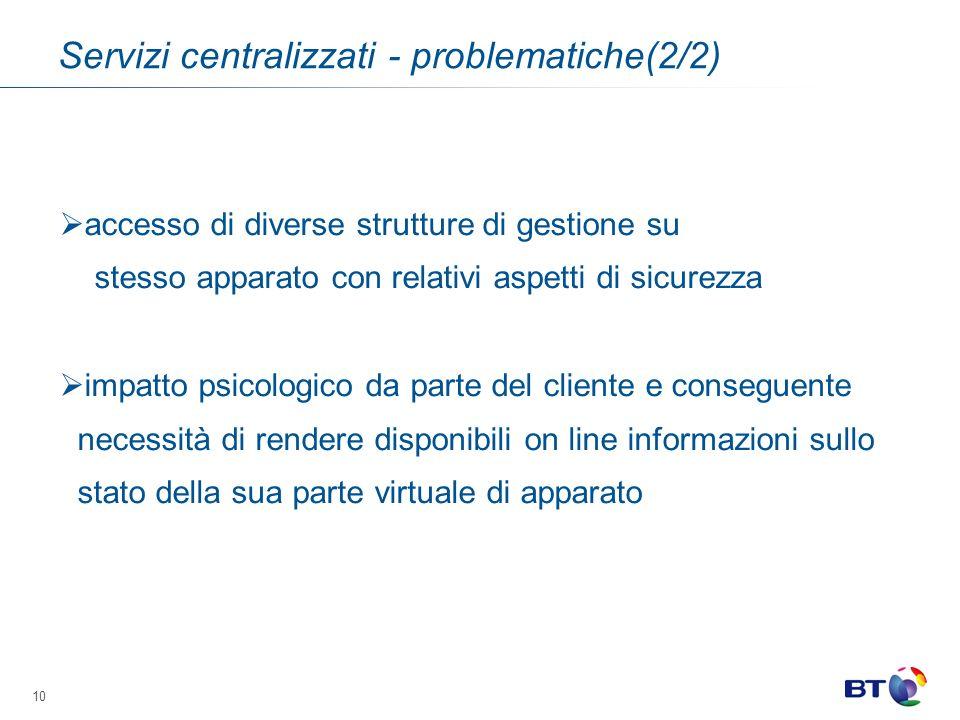 Servizi centralizzati - problematiche(2/2)