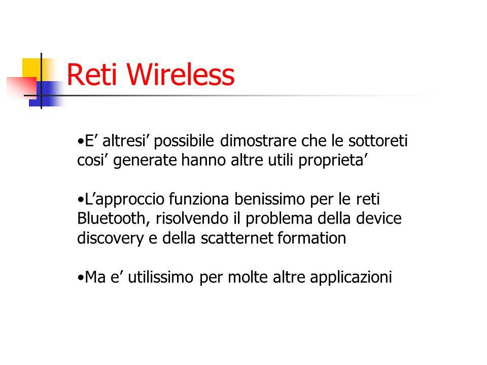 Reti Wireless E' altresi' possibile dimostrare che le sottoreti cosi' generate hanno altre utili proprieta'