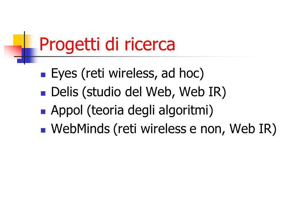 Progetti di ricerca Eyes (reti wireless, ad hoc)