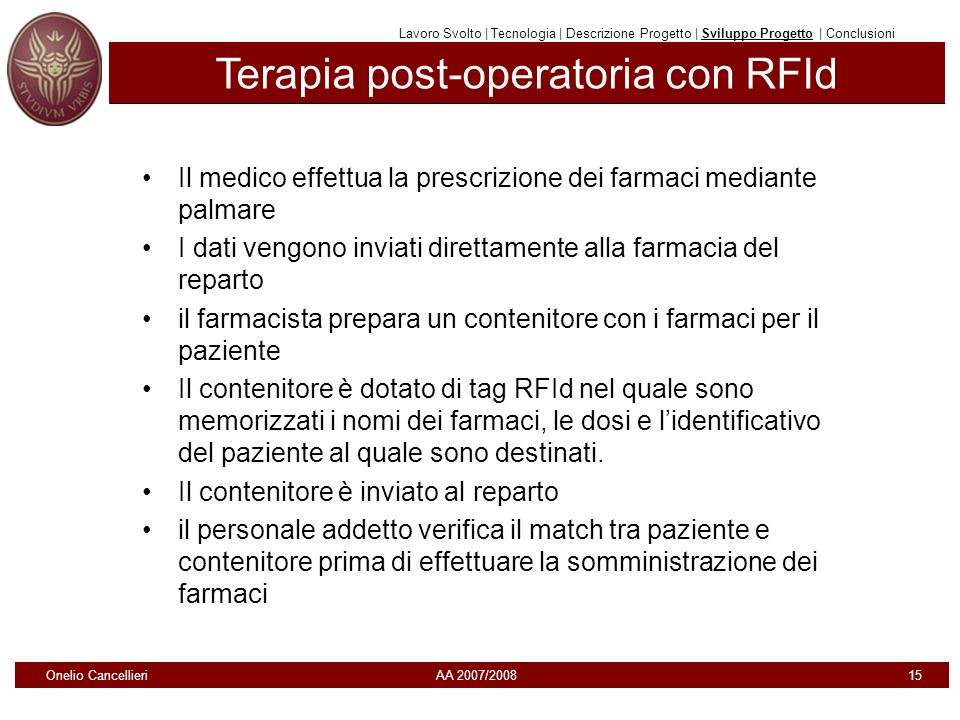 Terapia post-operatoria con RFId