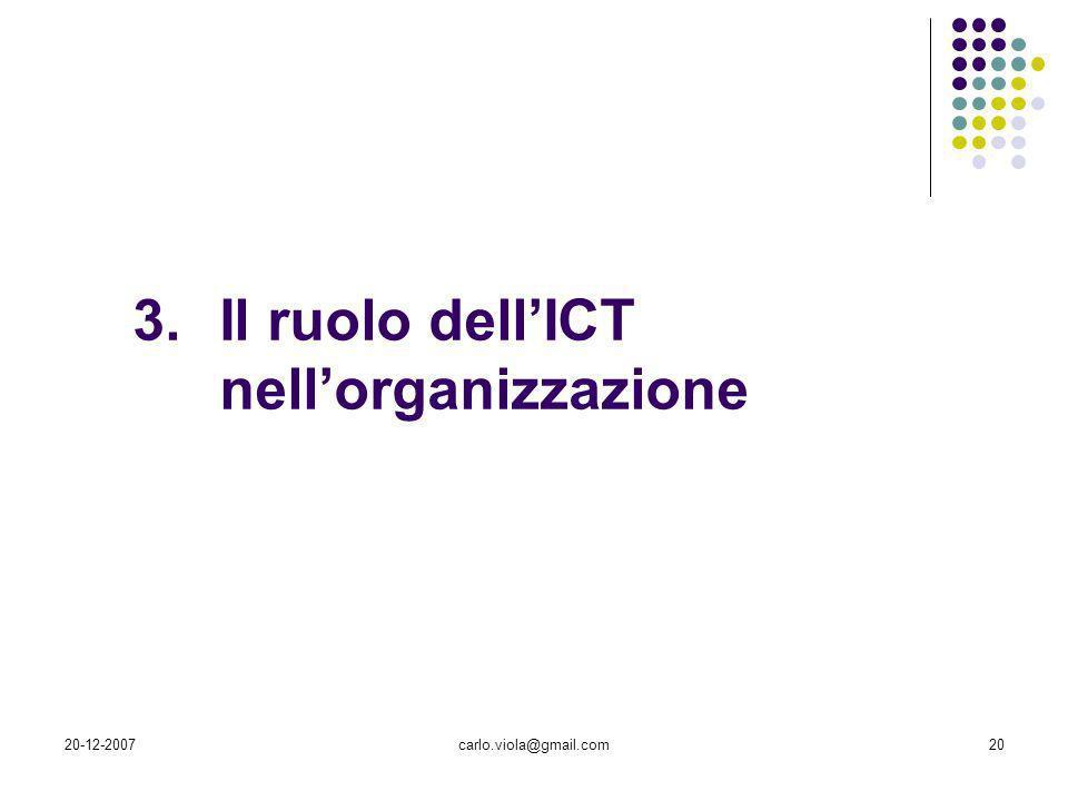 Il ruolo dell'ICT nell'organizzazione