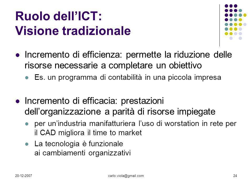 Ruolo dell'ICT: Visione tradizionale