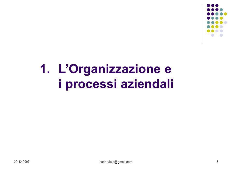 L'Organizzazione e i processi aziendali