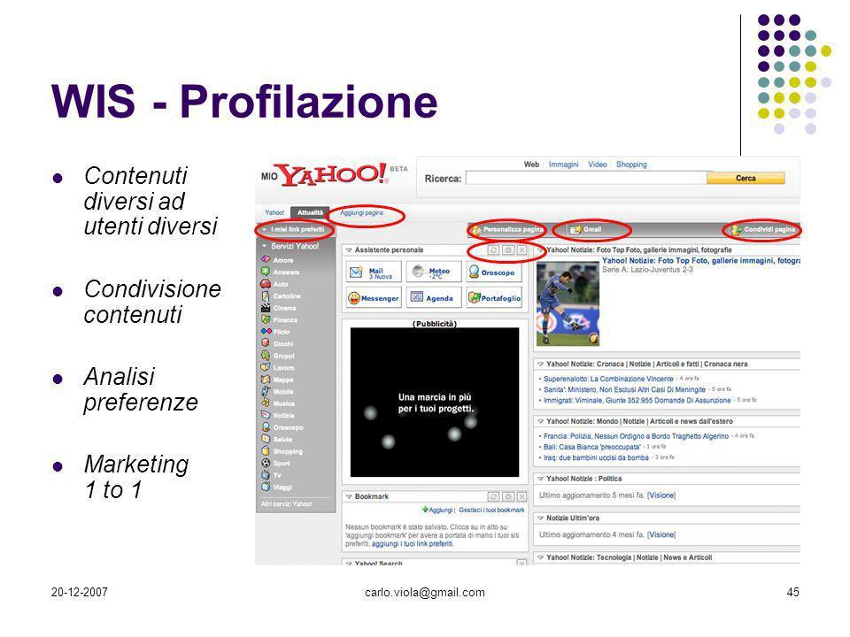 WIS - Profilazione Contenuti diversi ad utenti diversi
