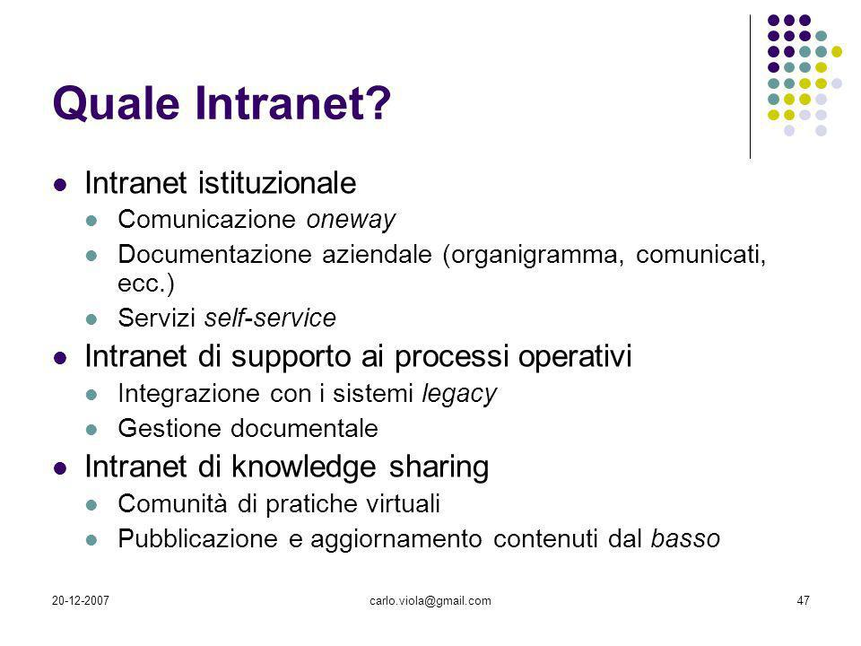 Quale Intranet Intranet istituzionale