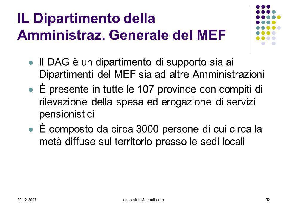 IL Dipartimento della Amministraz. Generale del MEF