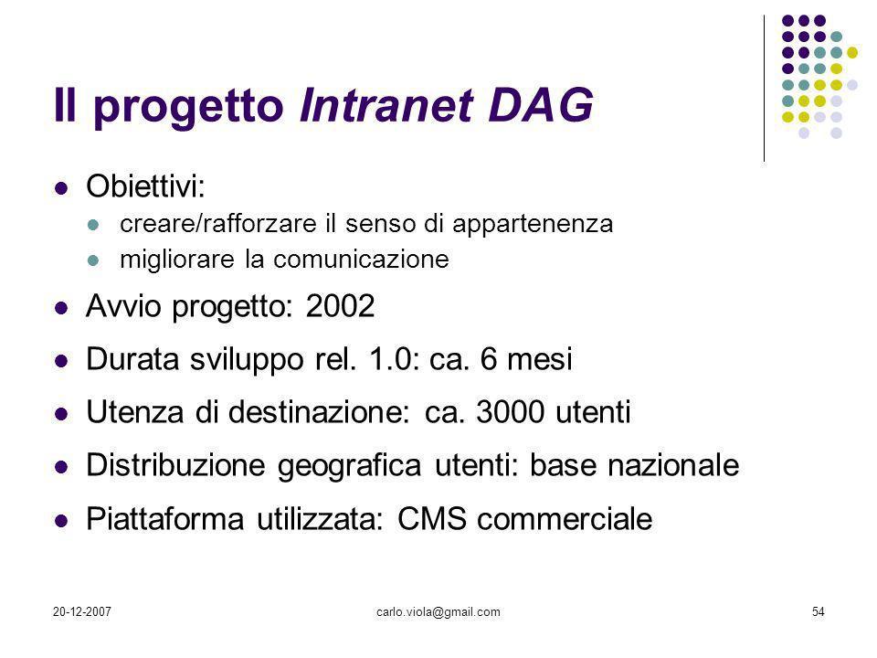 Il progetto Intranet DAG