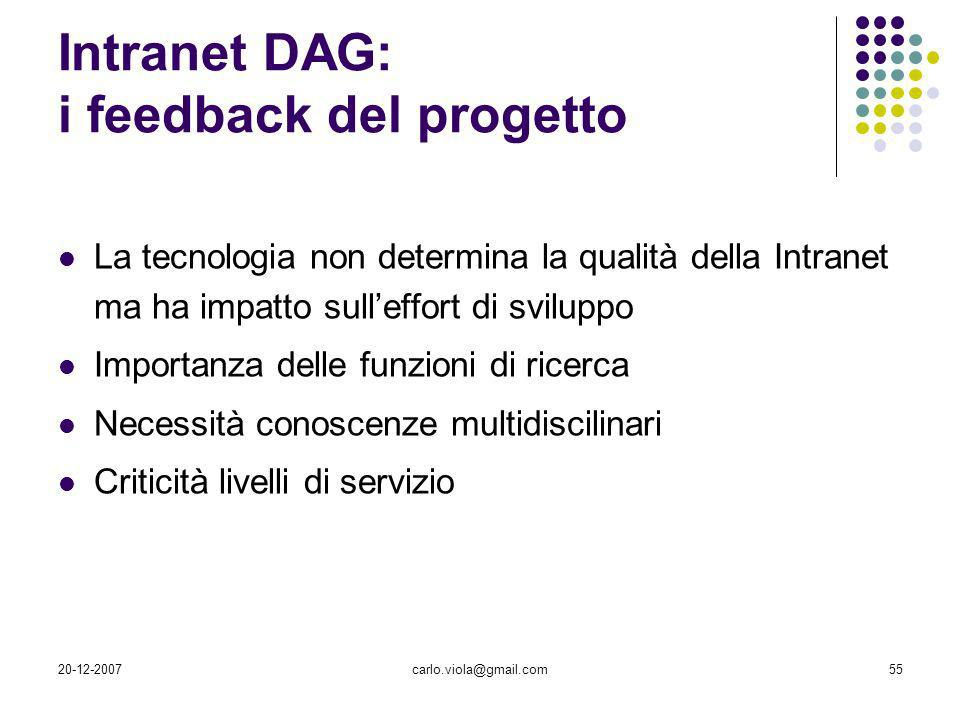 Intranet DAG: i feedback del progetto