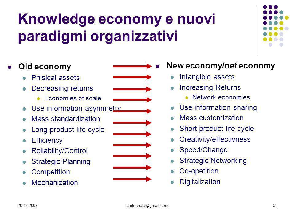Knowledge economy e nuovi paradigmi organizzativi