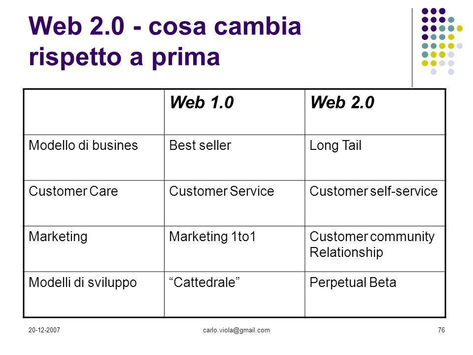 Web 2.0 - cosa cambia rispetto a prima