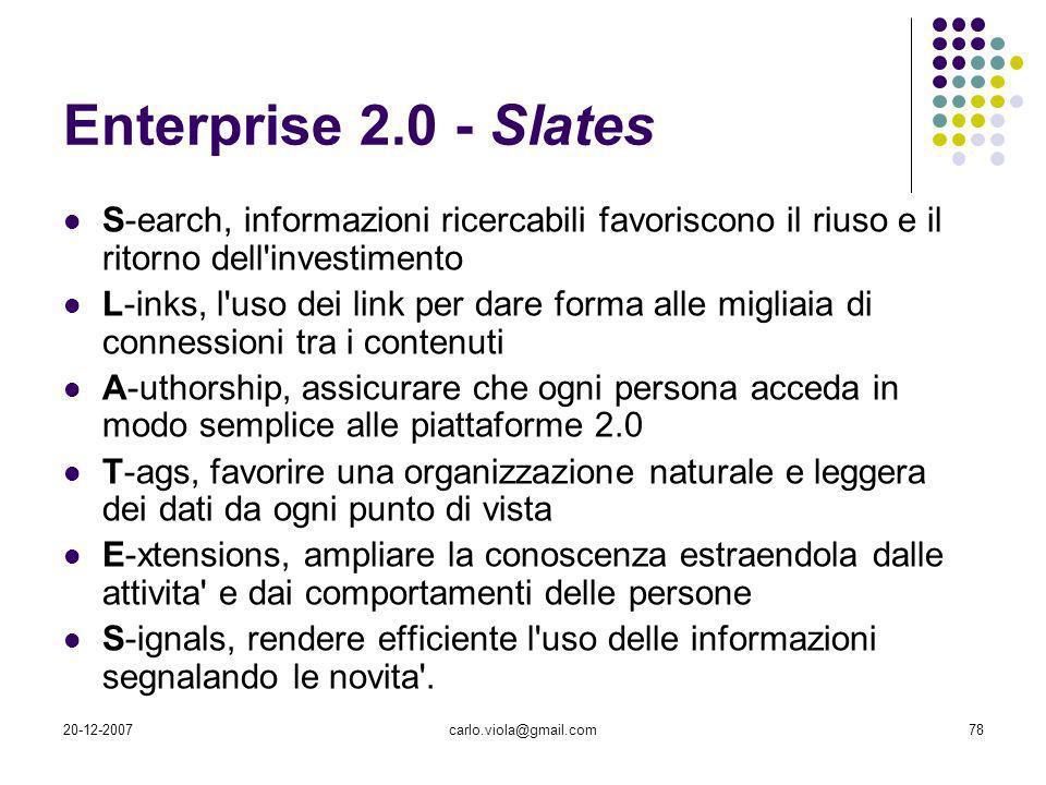 Enterprise 2.0 - Slates S-earch, informazioni ricercabili favoriscono il riuso e il ritorno dell investimento.