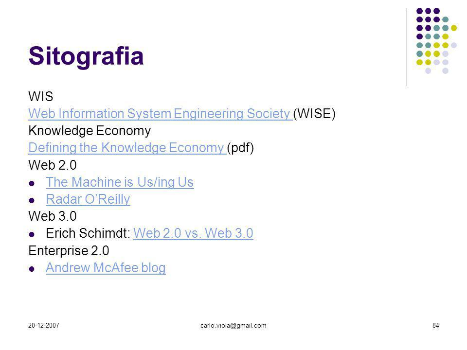 Sitografia WIS Web Information System Engineering Society (WISE)