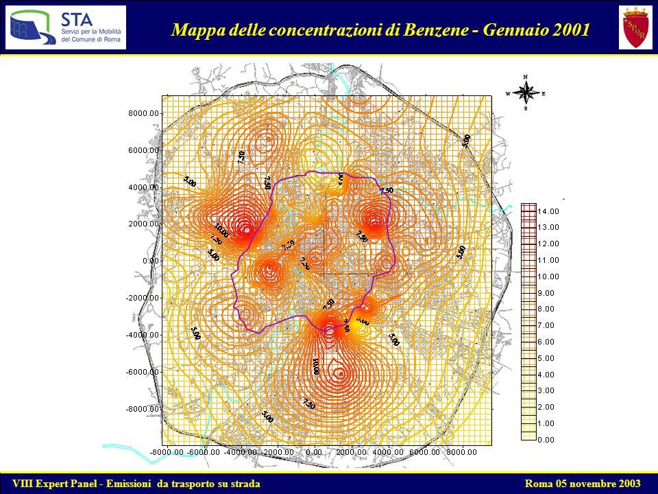 Mappa delle concentrazioni di Benzene - Gennaio 2001