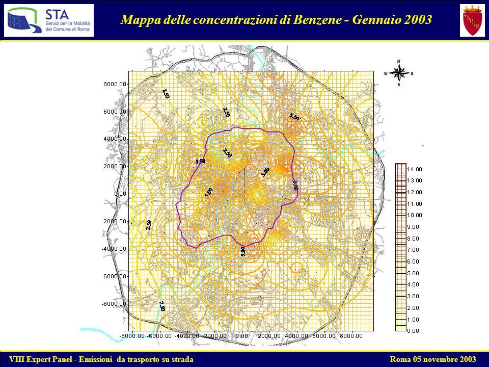 Mappa delle concentrazioni di Benzene - Gennaio 2003