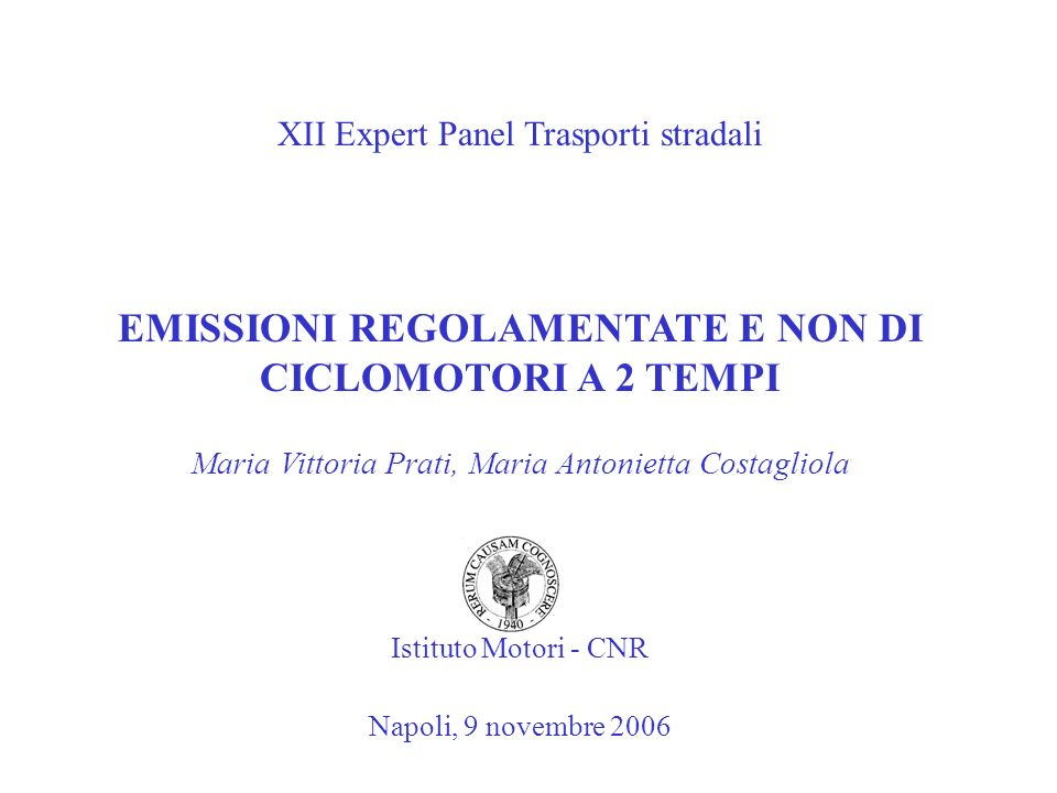 EMISSIONI REGOLAMENTATE E NON DI CICLOMOTORI A 2 TEMPI