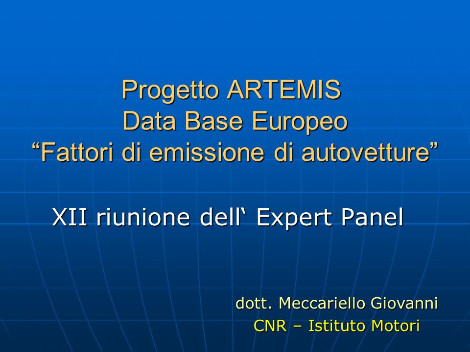 XII riunione dell' Expert Panel