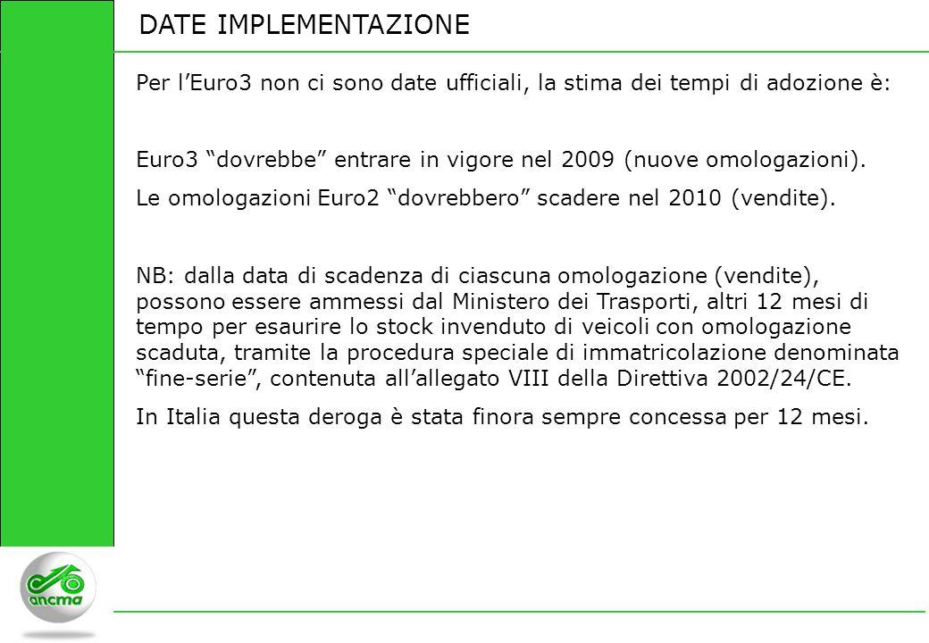 DATE IMPLEMENTAZIONE Per l'Euro3 non ci sono date ufficiali, la stima dei tempi di adozione è: