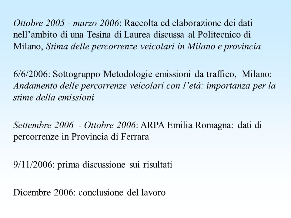 Ottobre 2005 - marzo 2006: Raccolta ed elaborazione dei dati nell'ambito di una Tesina di Laurea discussa al Politecnico di Milano, Stima delle percorrenze veicolari in Milano e provincia