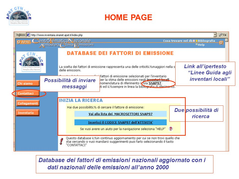 HOME PAGE Link all'ipertesto Linee Guida agli inventari locali Possibilità di inviare messaggi.