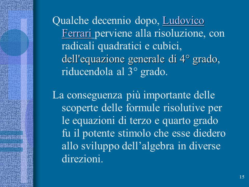 Qualche decennio dopo, Ludovico Ferrari perviene alla risoluzione, con radicali quadratici e cubici, dell equazione generale di 4° grado, riducendola al 3° grado.