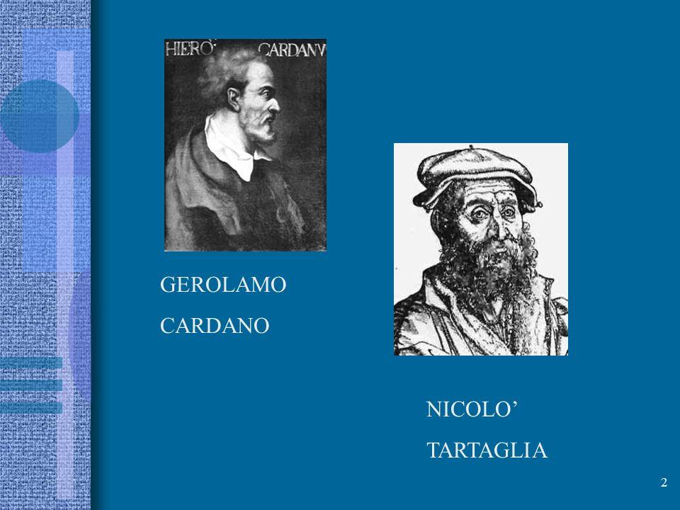 GEROLAMO CARDANO NICOLO' TARTAGLIA