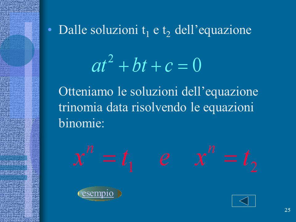 Dalle soluzioni t1 e t2 dell'equazione