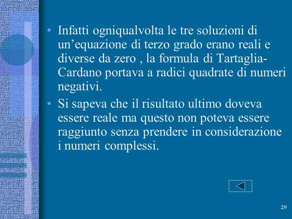 Infatti ogniqualvolta le tre soluzioni di un'equazione di terzo grado erano reali e diverse da zero , la formula di Tartaglia-Cardano portava a radici quadrate di numeri negativi.