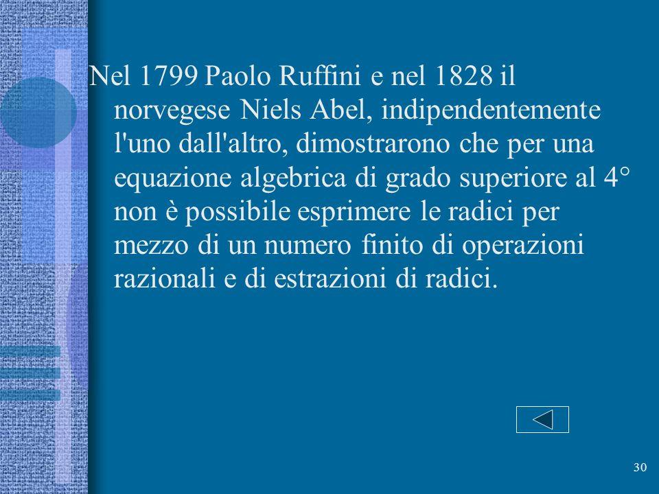 Nel 1799 Paolo Ruffini e nel 1828 il norvegese Niels Abel, indipendentemente l uno dall altro, dimostrarono che per una equazione algebrica di grado superiore al 4° non è possibile esprimere le radici per mezzo di un numero finito di operazioni razionali e di estrazioni di radici.