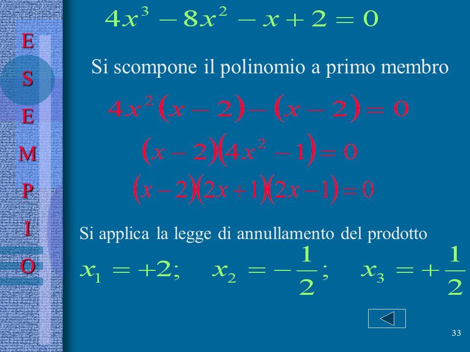 Si scompone il polinomio a primo membro