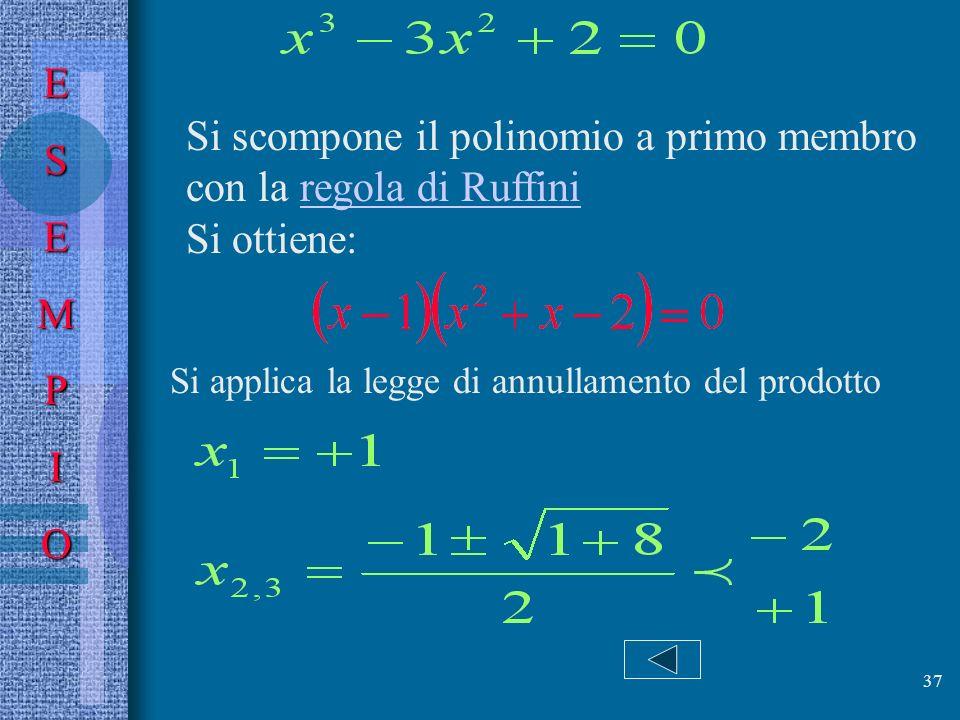 Si scompone il polinomio a primo membro con la regola di Ruffini