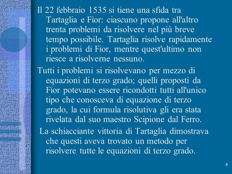 Il 22 febbraio 1535 si tiene una sfida tra Tartaglia e Fior: ciascuno propone all altro trenta problemi da risolvere nel più breve tempo possibile. Tartaglia risolve rapidamente i problemi di Fior, mentre quest ultimo non riesce a risolverne nessuno.